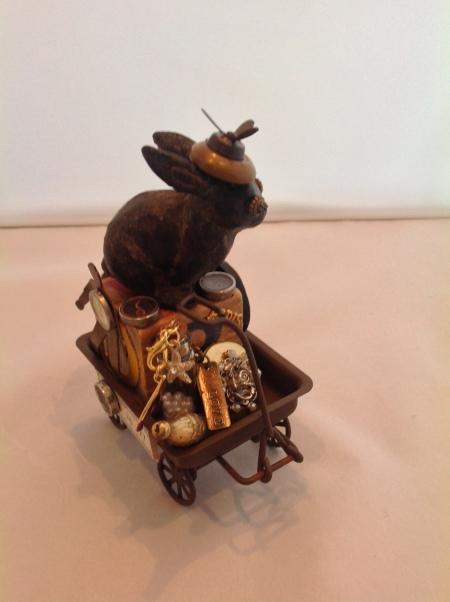 Bunny in wagon